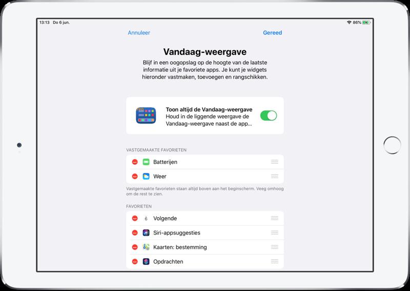iPadOS beginscherm Vandaag-weergave vastzetten