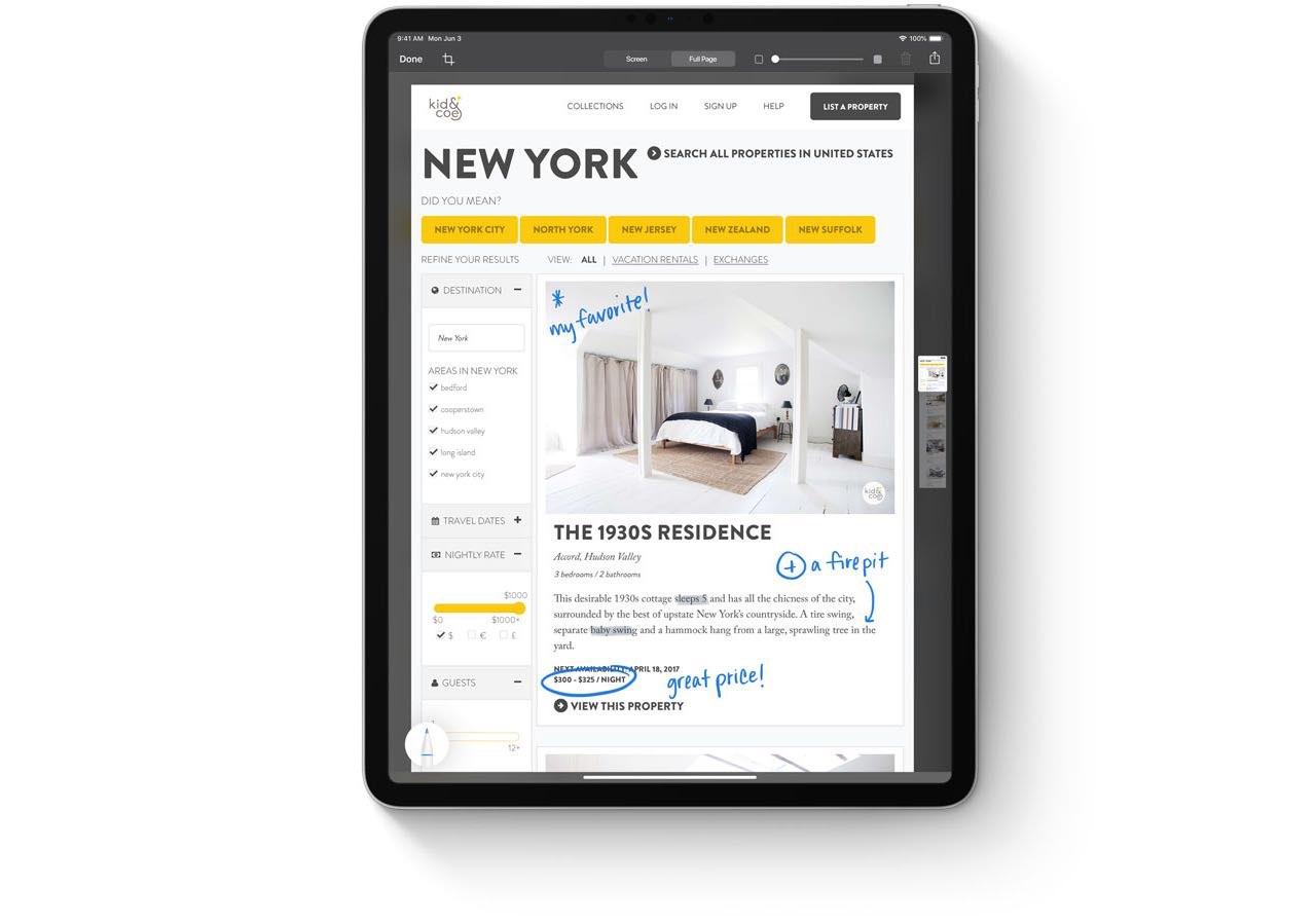 iPadOS Markup tools
