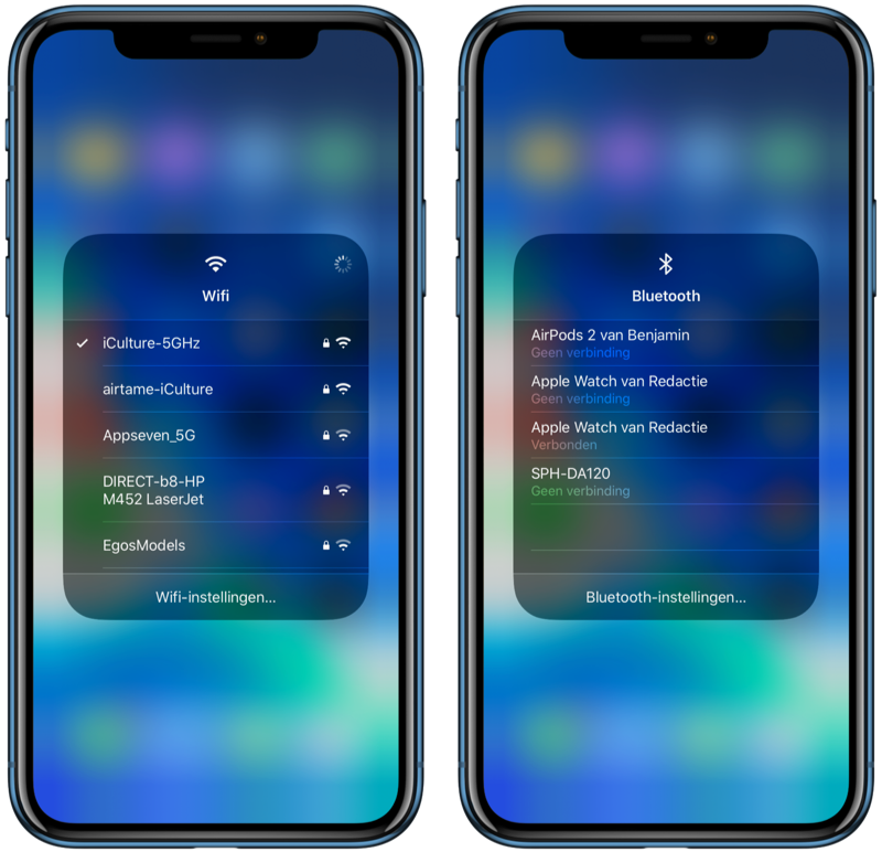 iOS 13 Wi-Fi en Bluetooth in Bedieningspaneel.