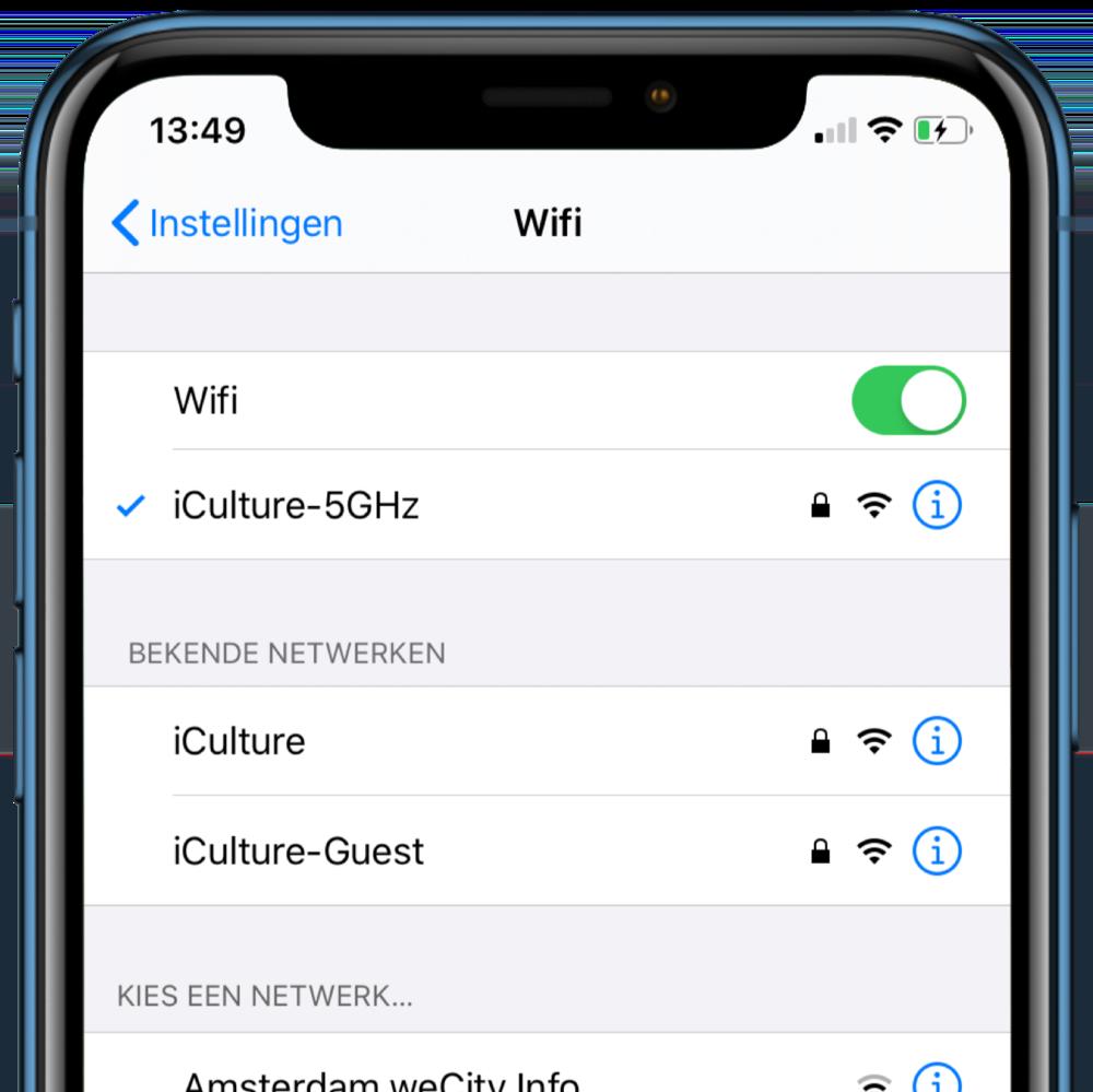iOS 13 bekende Wi-Fi netwerken.