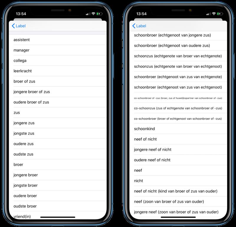 iOS 13 relaties voor contacten.