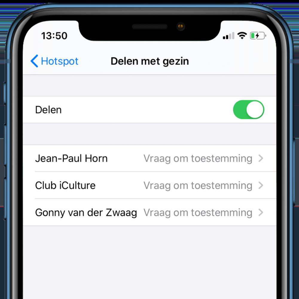 iOS 13 hotspot delen met gezin.