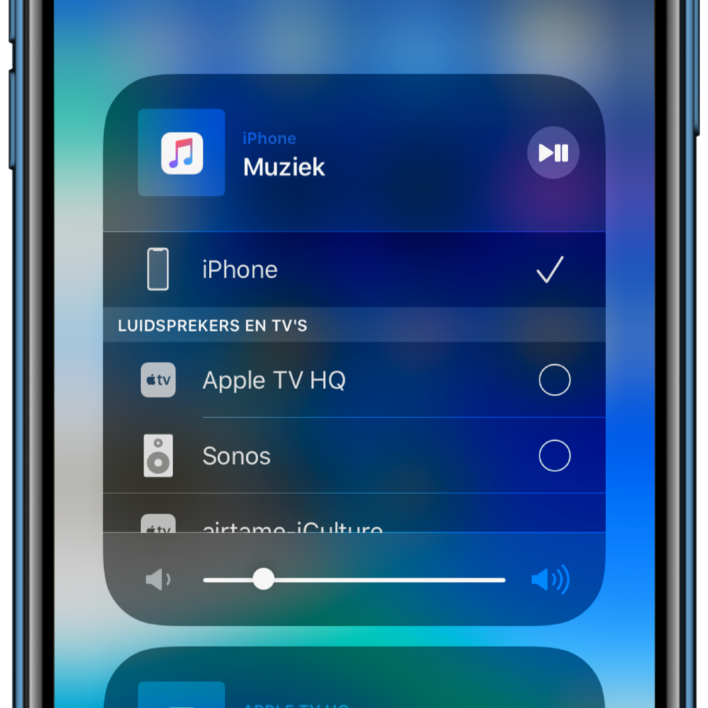 iOS 13 AirPlay-menu.
