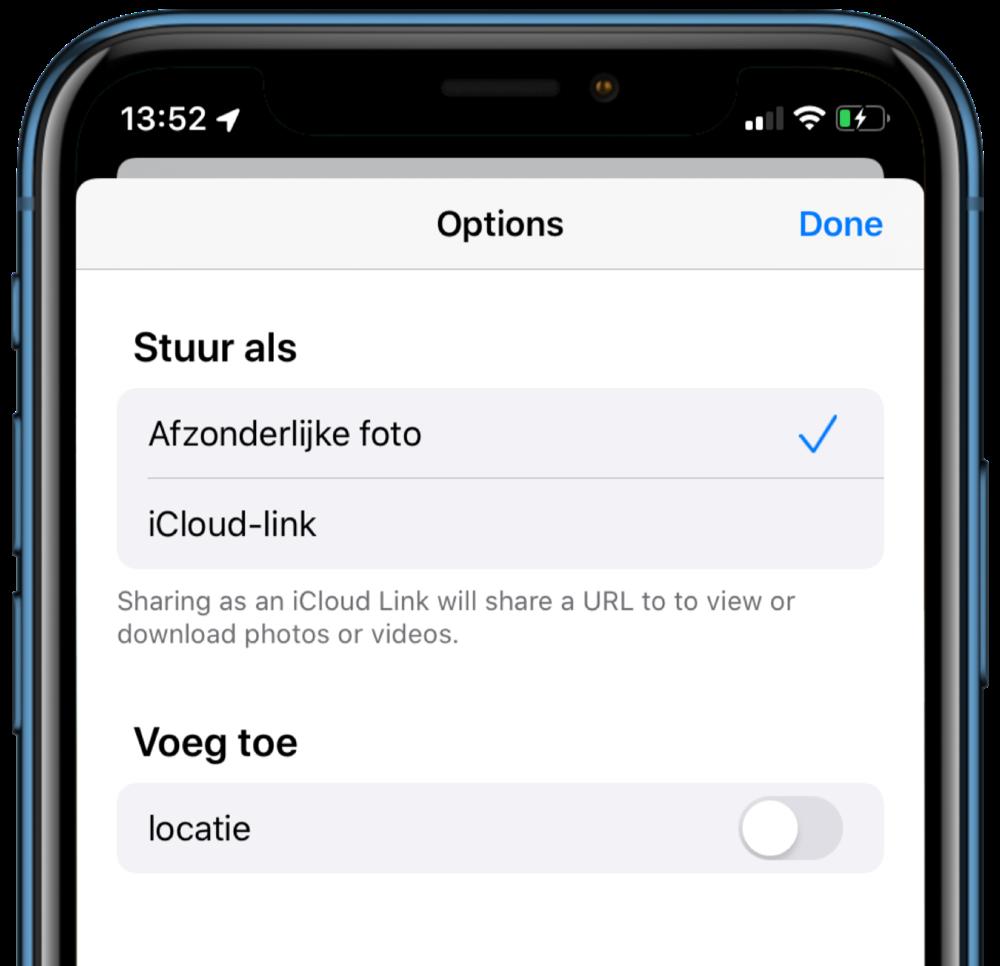 iOS 13 locatie verwijderen uit fotodeling.