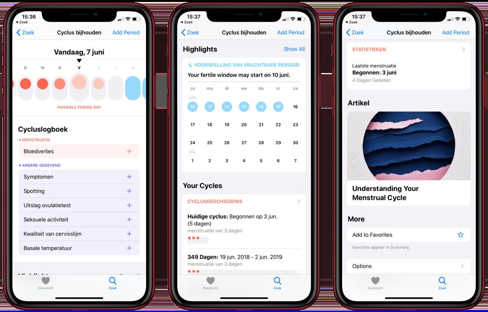 Cyclus-app op iPhone