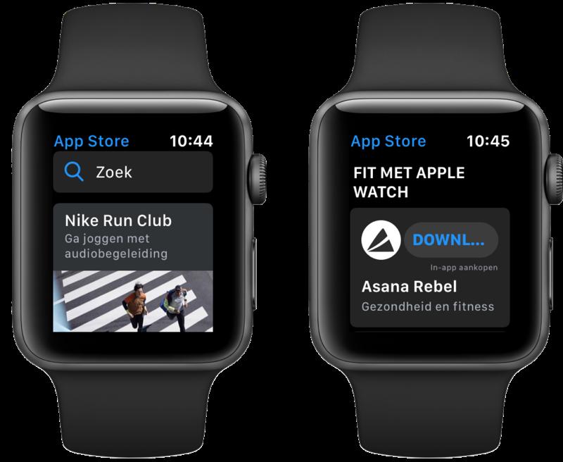 App Store op Apple Watch met overzicht.