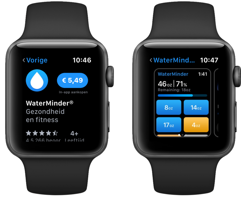 App Store op Apple Watch met app-pagina.