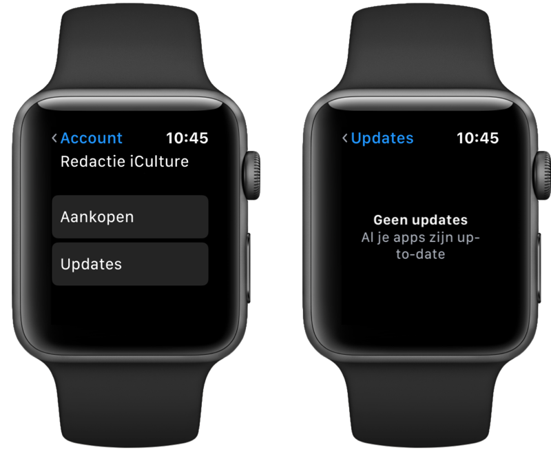 App Store op Apple Watch met aankopen en updates.