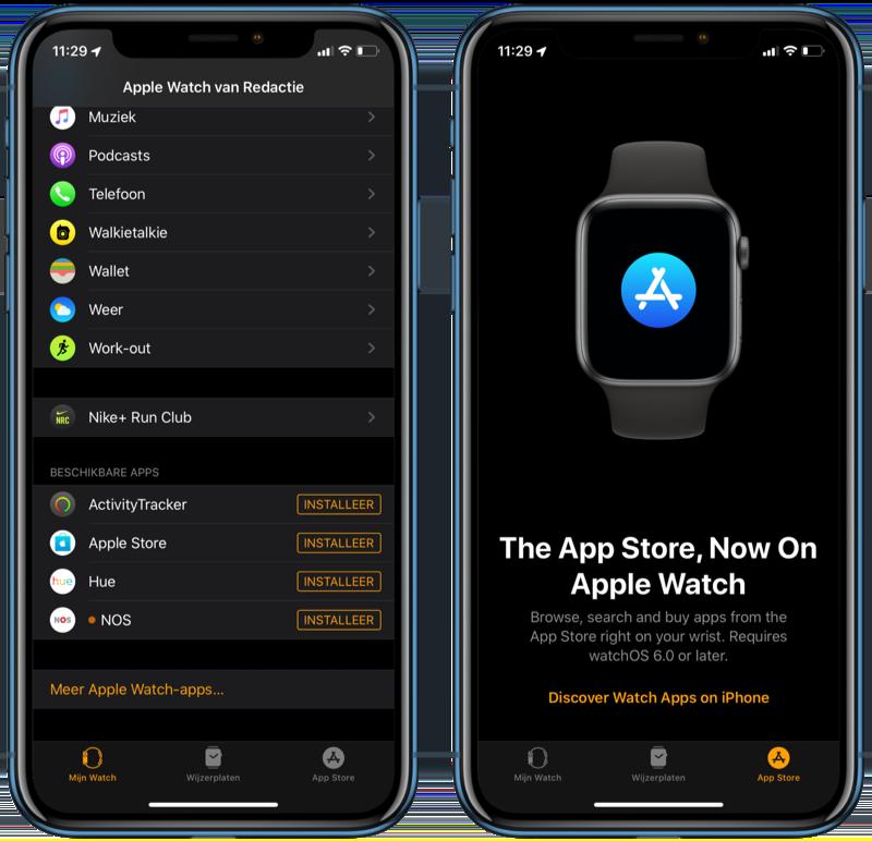 Watch-app met apps overzicht.