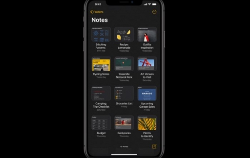 Notities-app in iOS 13