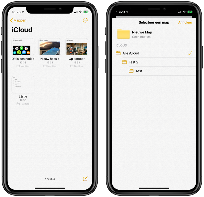 Notities-app: galerij-weergave en geneste mappen