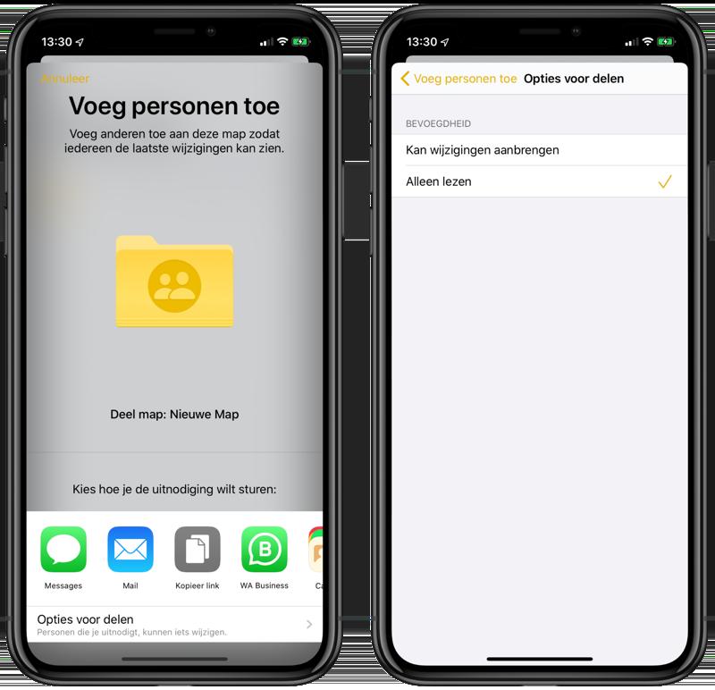 Notities-app: mappen delen en alleen-lezen