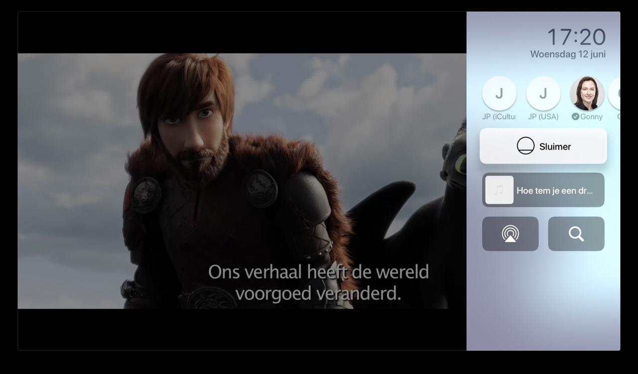 Apple TV Bedieningspaneel tijdens een film.