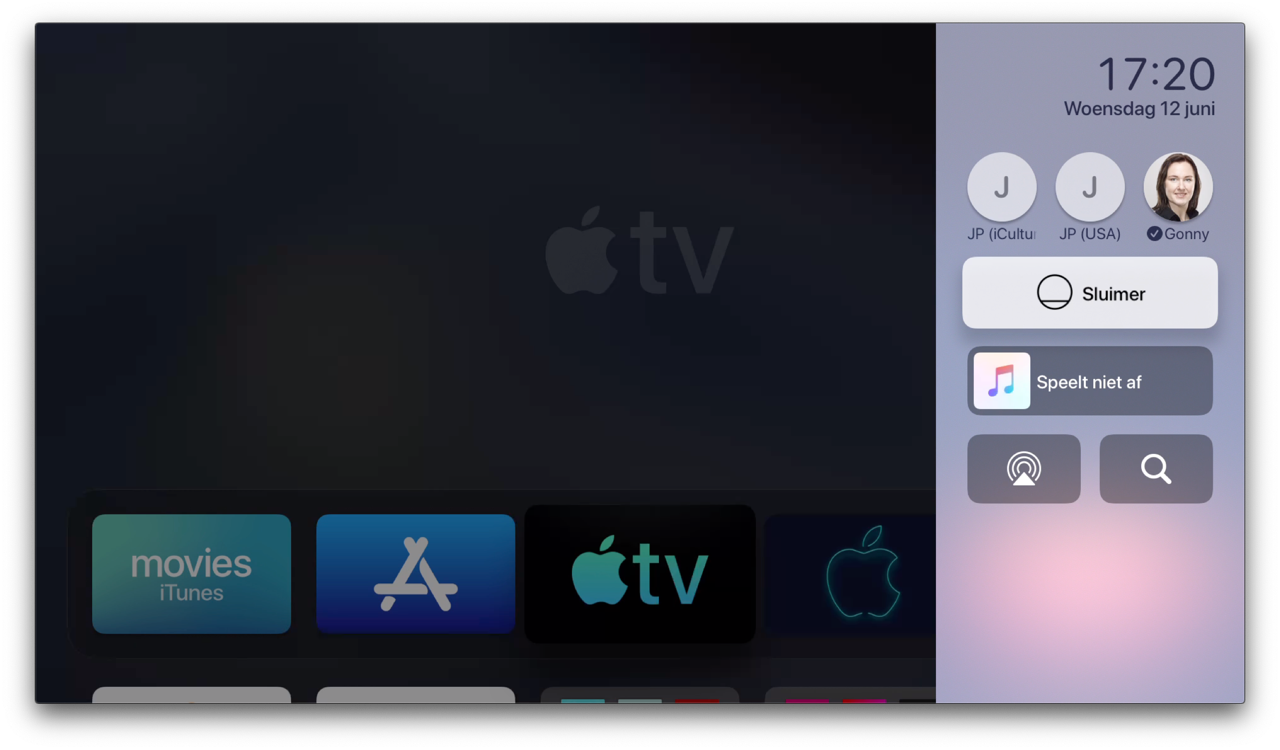 Apple TV Bedieningspaneel tijdens beginscherm.