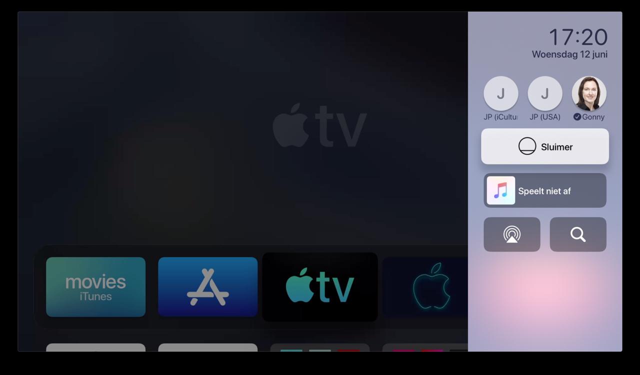 Apple TV Bedieningspaneel tijdens beginscherm.