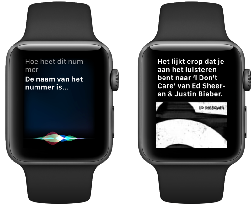 Siri en Shazam op Apple Watch.