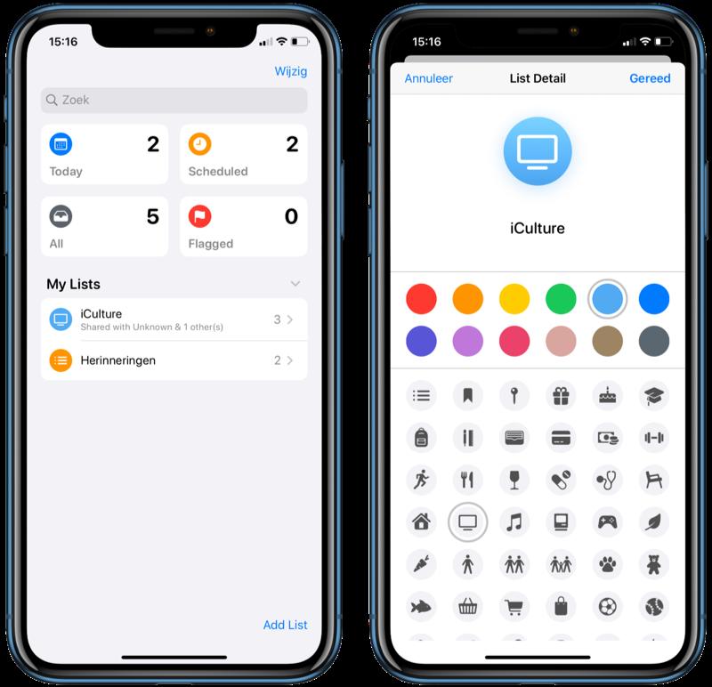 Design van Herinneringen in iOS 13.