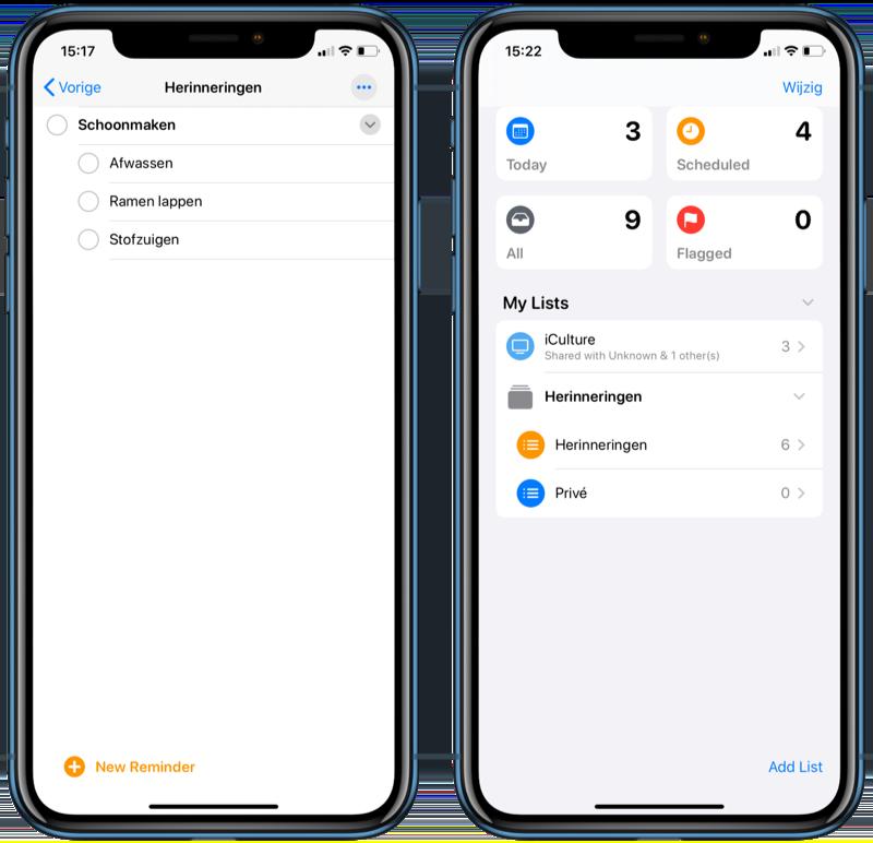 Taken en lijsten in Herinneringen in iOS 13.