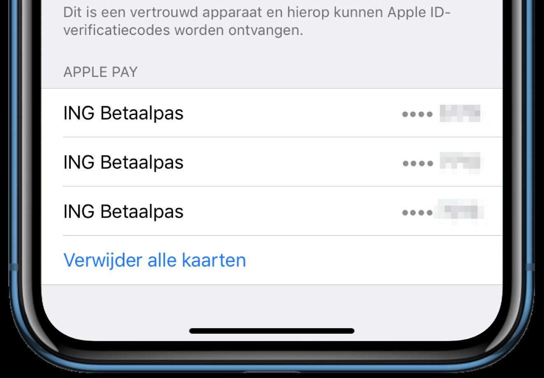 Apple Pay-kaarten verwijderen bij verloren.