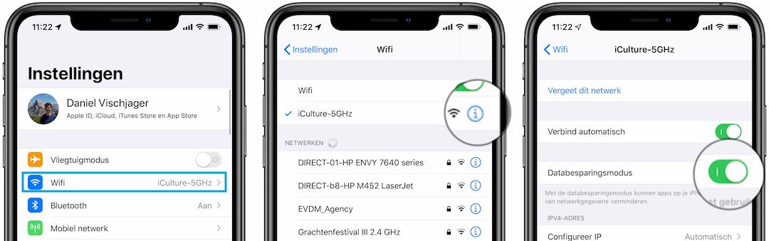 Databesparingsmodus met WiFi