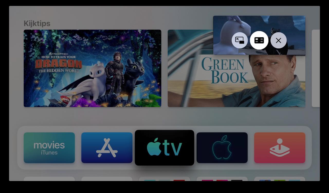 Picture in Picture op Apple TV bedienen.