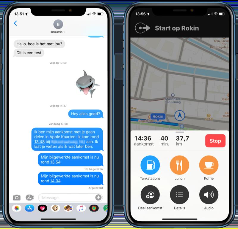 iOS 13 Apple Kaarten ETA aankomsttijd delen.