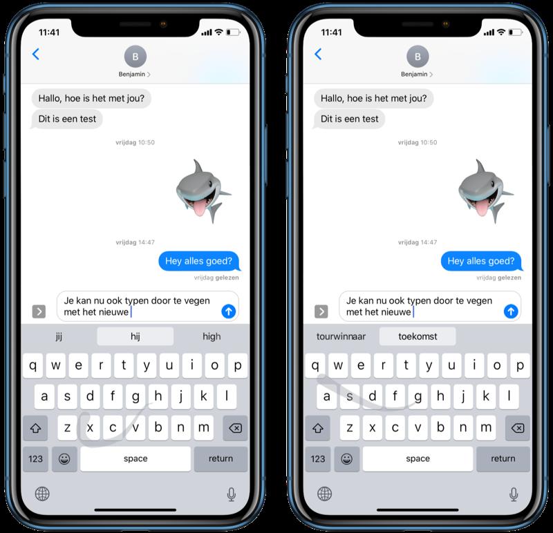 QuickPath-toetsenbord vegen op iPhone.