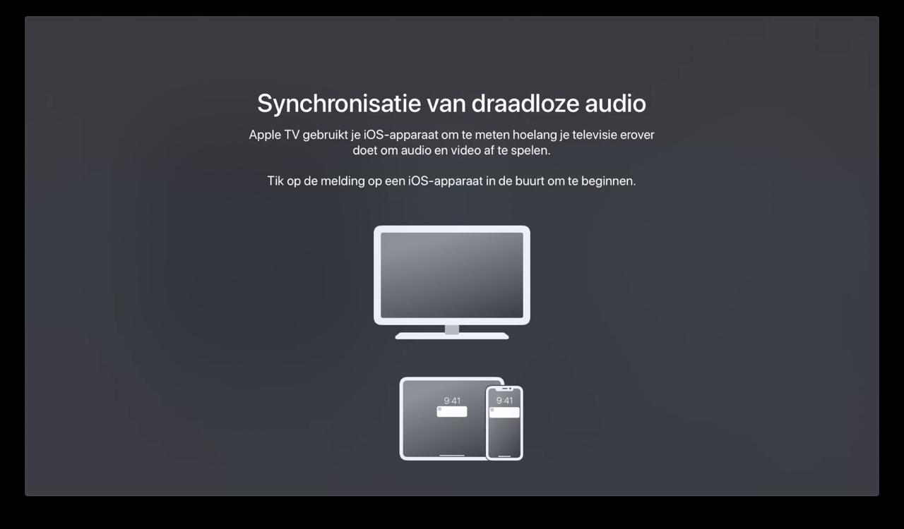 Draadloze audio sync op Apple TV.