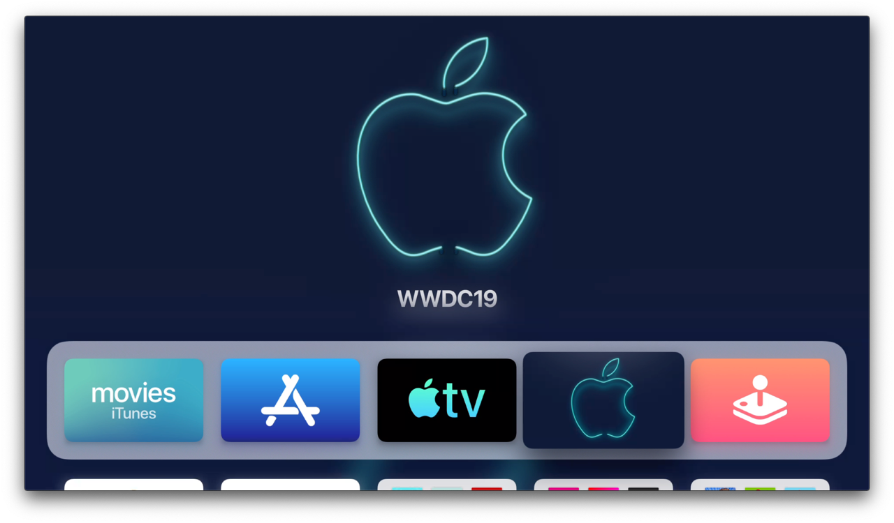 tvOS 13 beginscherm op Apple TV.