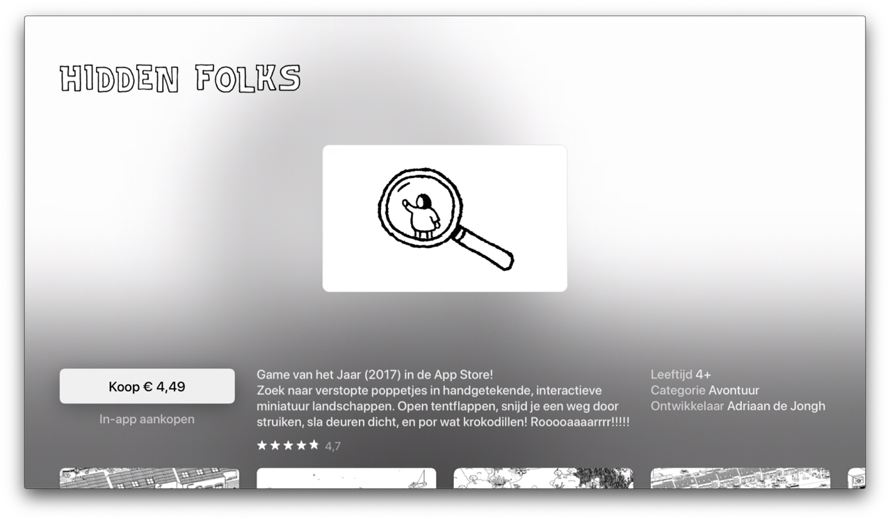 App Store pagina in tvOS 13 op Apple TV.