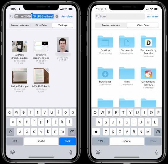 Zoeken in Bestanden app iOS 13