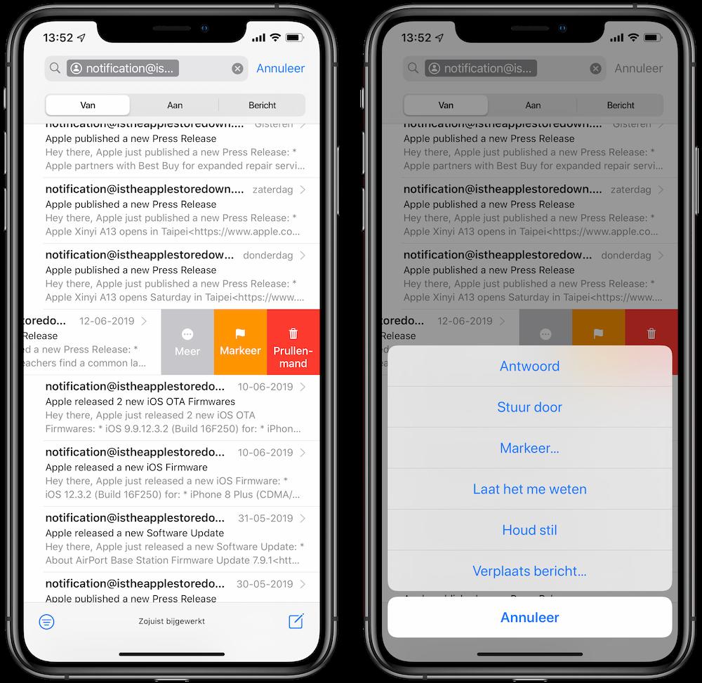 Mail stilhouden iOS 13