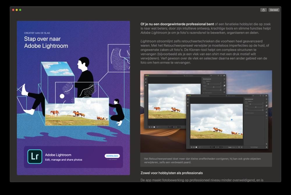 Adobe Lightroom verhaal in Mac App Store.