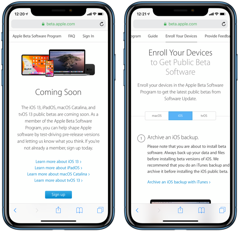 iOS 13 publieke beta aanmelden.