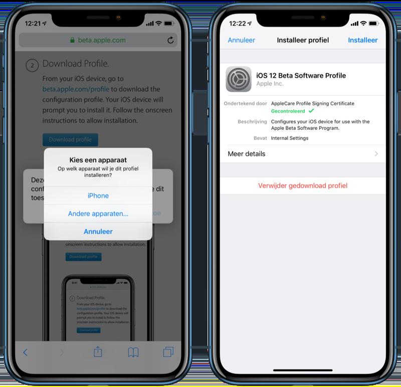 iOS publieke beta apparaat en profiel instellen.