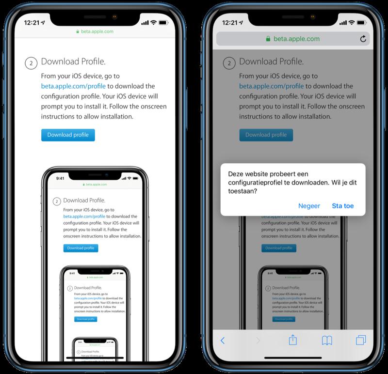 Publieke beta iOS profiel toestaan.