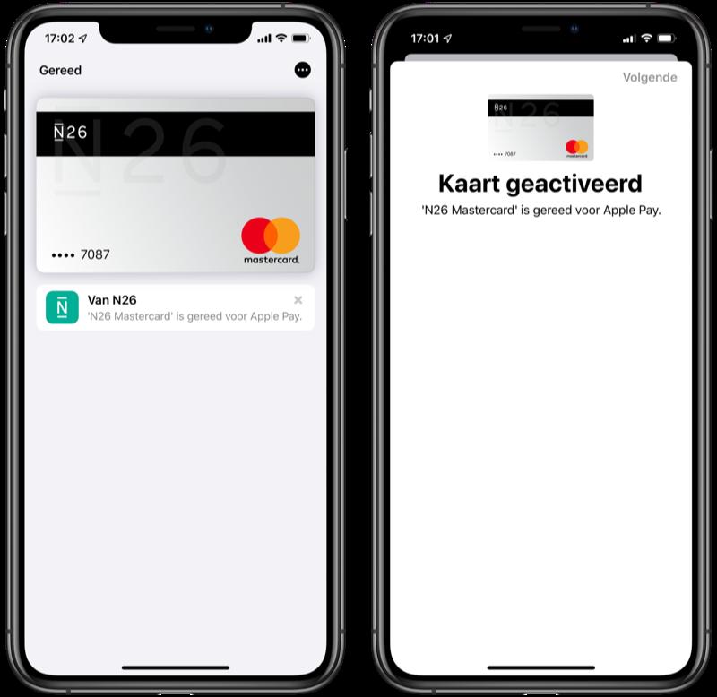 N26 Mastercard bij Apple Pay.