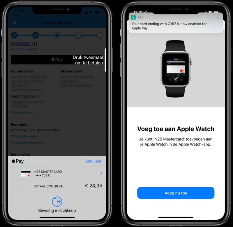 N26 Mastercard bij Apple Pay en betalen via app.