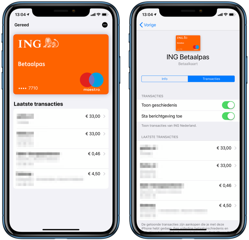 Apple Pay transacties op je iPhone.