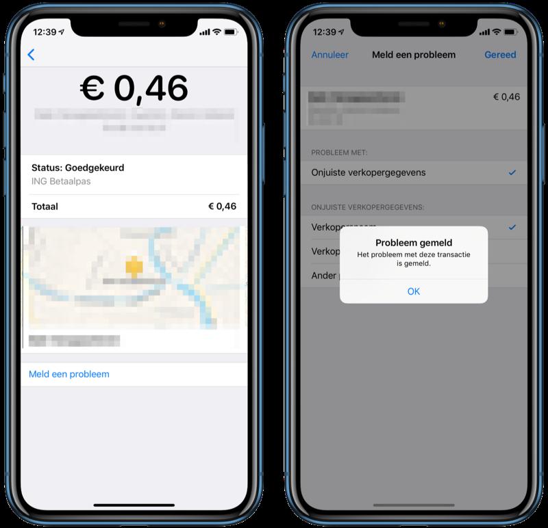 Probleem melden met Apple Pay-transactie.