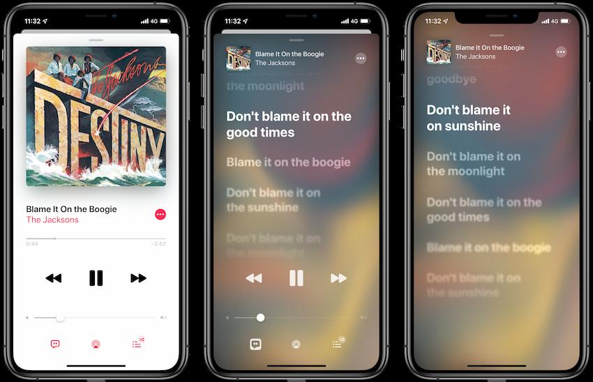 Vernieuwde songtekst weergave iOS 13