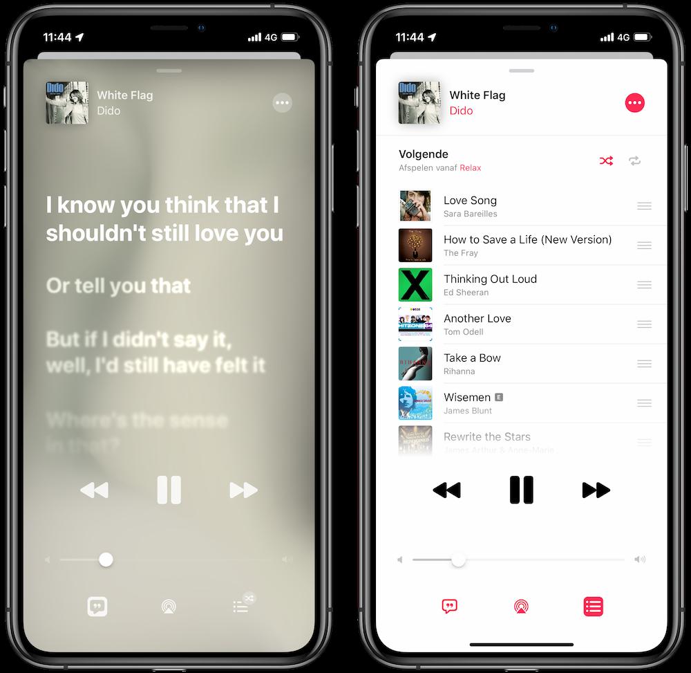 Vernieuwd huidig nummer iOS 13 muziek