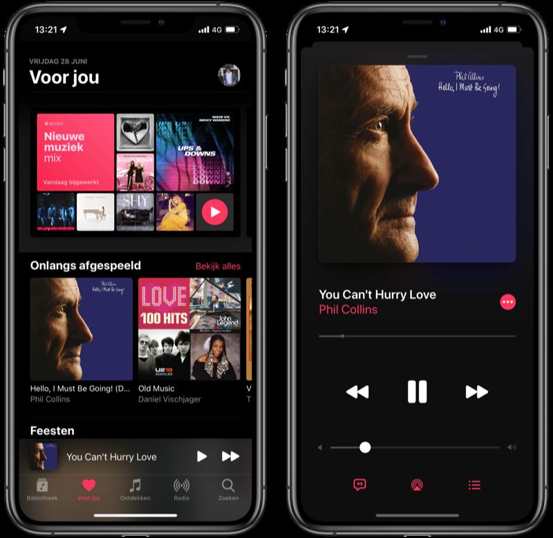 Apple Music in het donker.