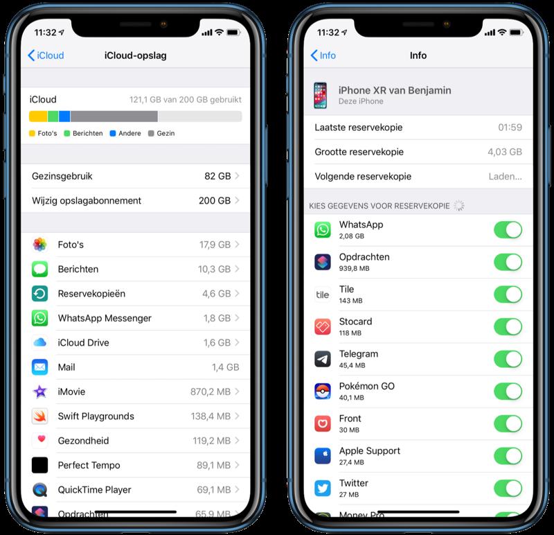 Apps instellen voor iCloud backup.