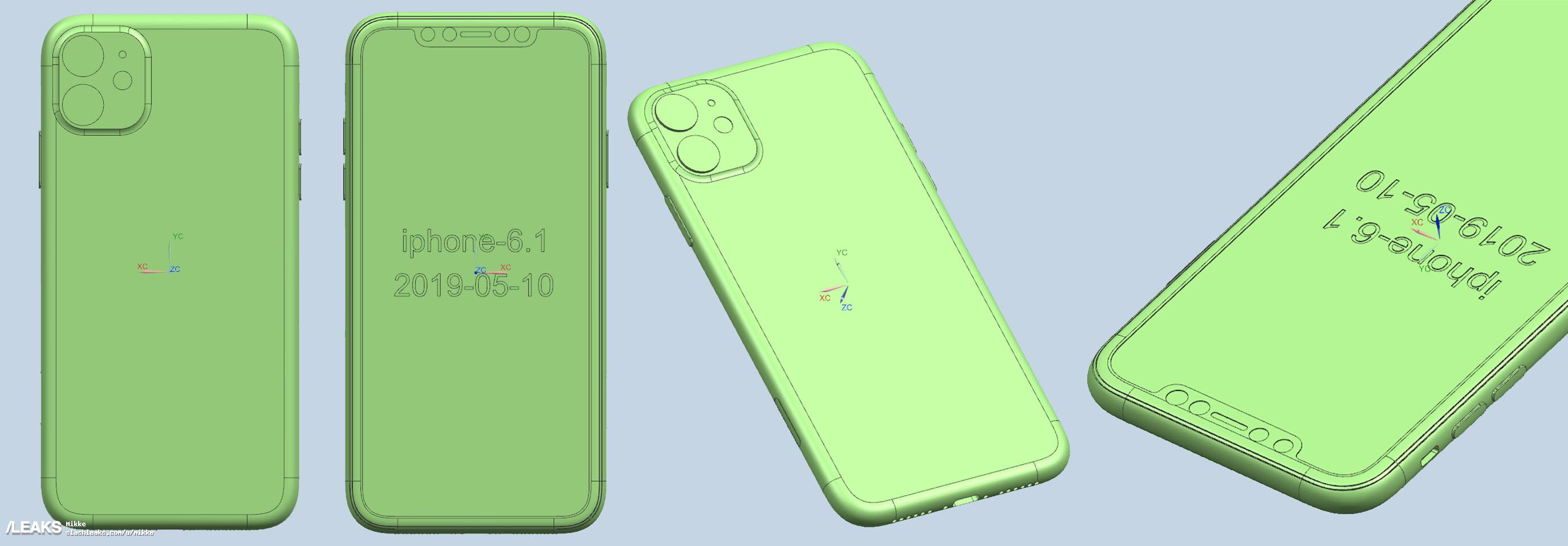 iPhone XR 2019 CAD schematische tekening.