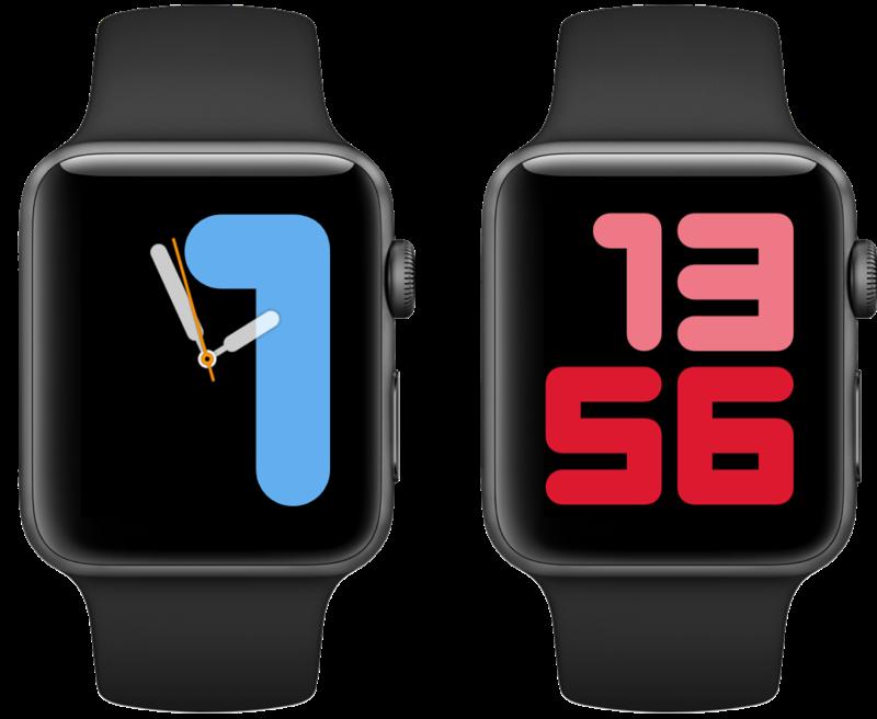 watchOS 6 wijzerplaten Cijfers duo en mono.