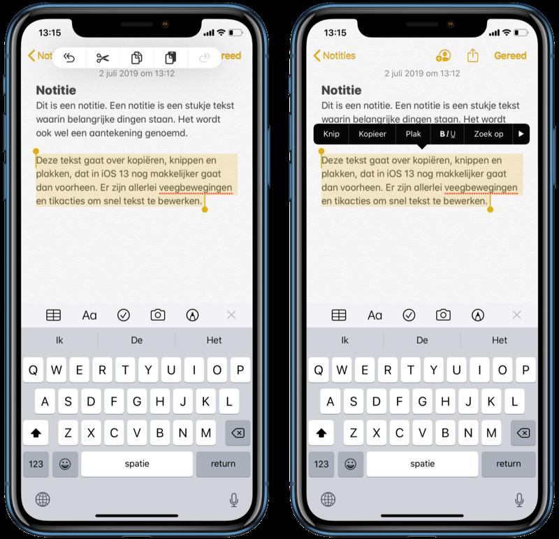 Tekst kopiëren, knippen en plakken in iOS 13.
