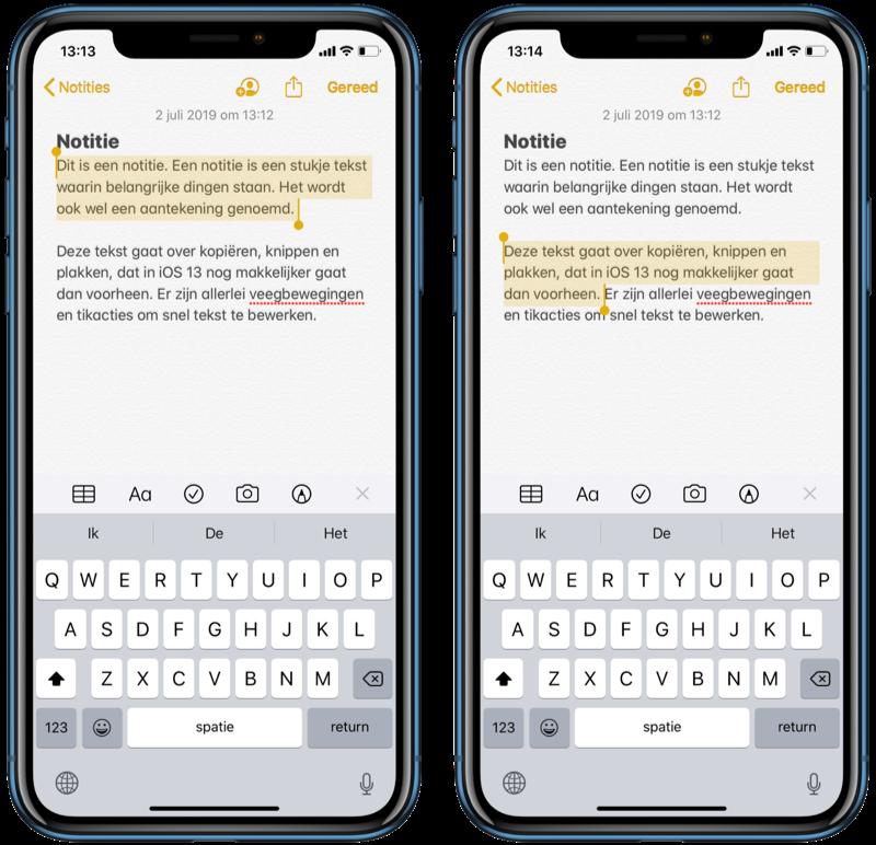 Tekst selecteren in iOS 13.