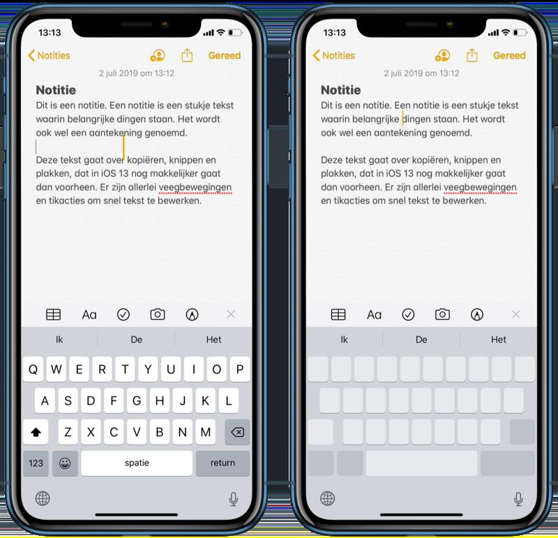 Cursor verplaatsen in iOS 13.