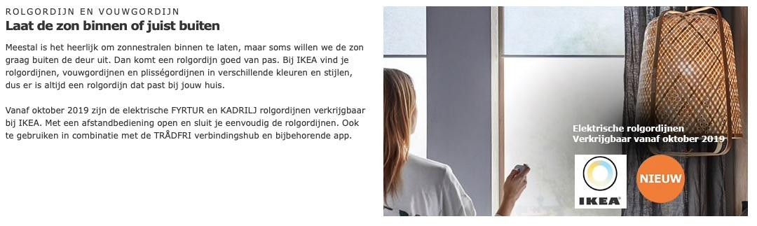 Fyrtur en Kadrilj rolgordijnen IKEA in oktober.